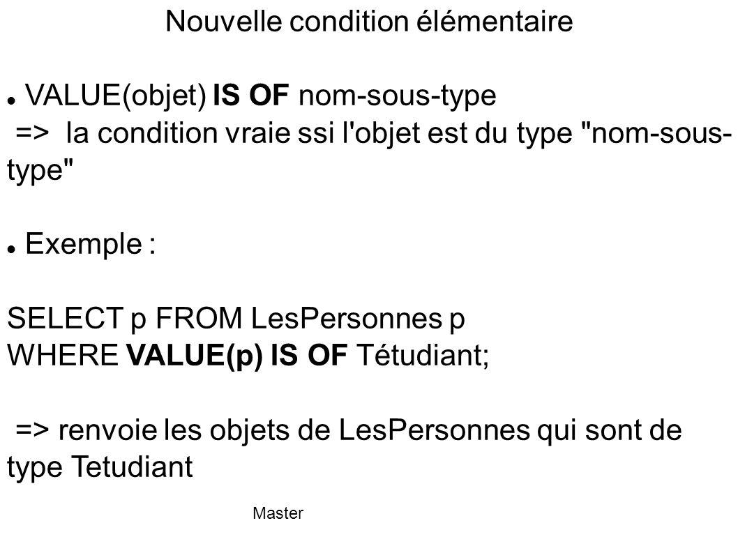 Master Nouvelle condition élémentaire VALUE(objet) IS OF nom-sous-type => la condition vraie ssi l'objet est du type