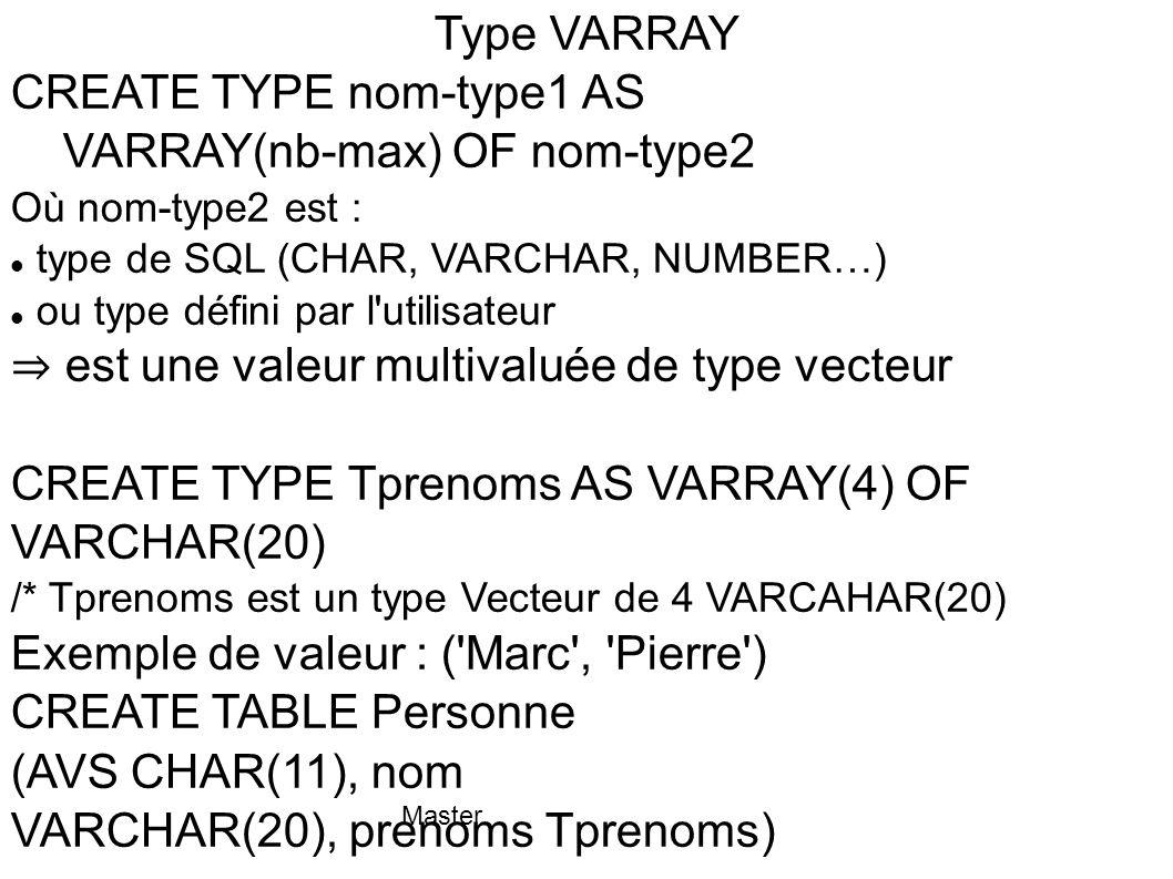 Master Type nested TABLE CREATE TYPE nom-type AS TABLE OF nom-type2 / Où nom-type2 : type usuel de SQL (CHAR, VARCHAR, NUMBER…) type défini par l utilisateur ⇒ valeur multivaluée de type table pas de nombre maximum de valeurs lignes non ordonnée peut être indexable ex.
