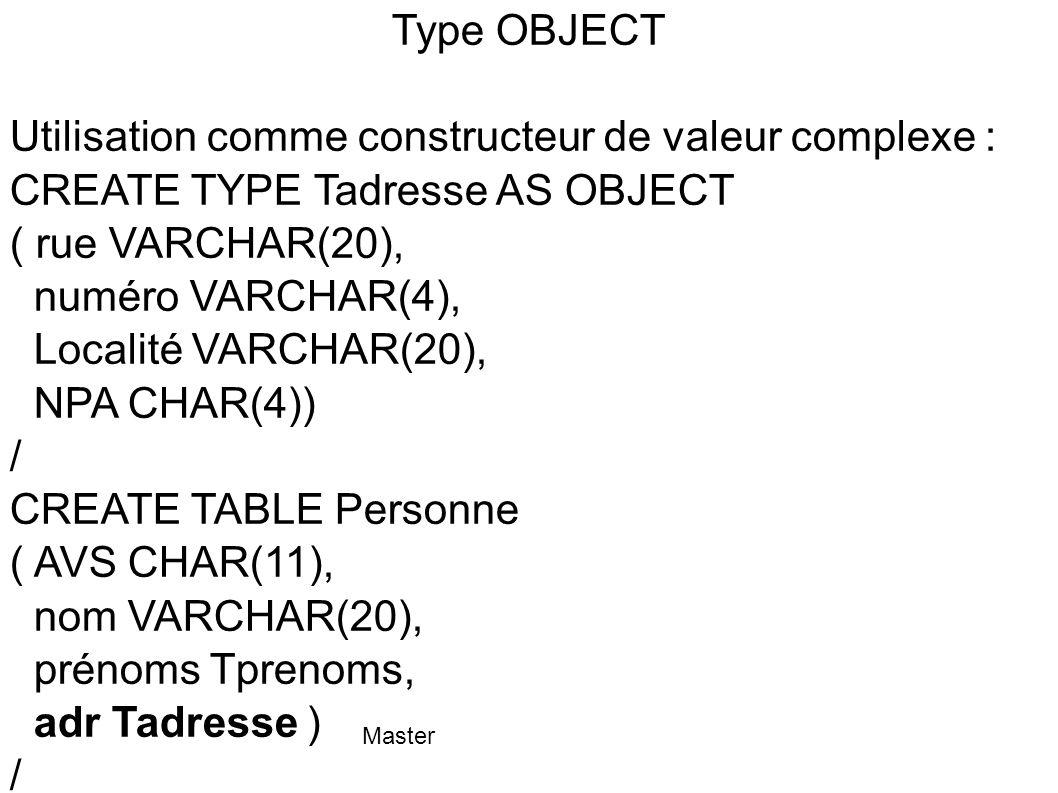 Master Accès aux valeurs complexes (type OBJECT) (2) INSERT INTO Personne values ( 12345123451 , TOTO , Prenoms( Marc , Pierre ), Tadresse( Fenelon , 40, Le Havre , 76 )); SELECT p.adresse.localité FROM Personne p WHERE p.AVS = 12345123451 ;
