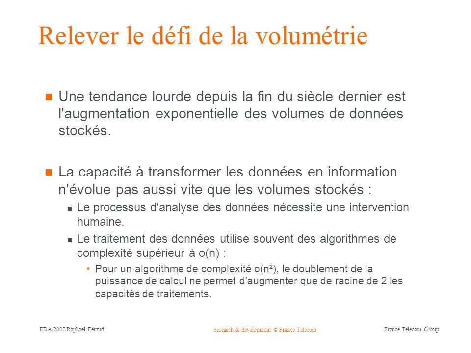 research & development © France Telecom France Telecom Group EDA/2007/Raphaël Féraud Relever le défi de la volumétrie Une tendance lourde depuis la fi