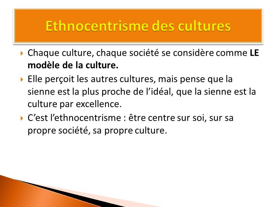  Chaque culture, chaque société se considère comme LE modèle de la culture.