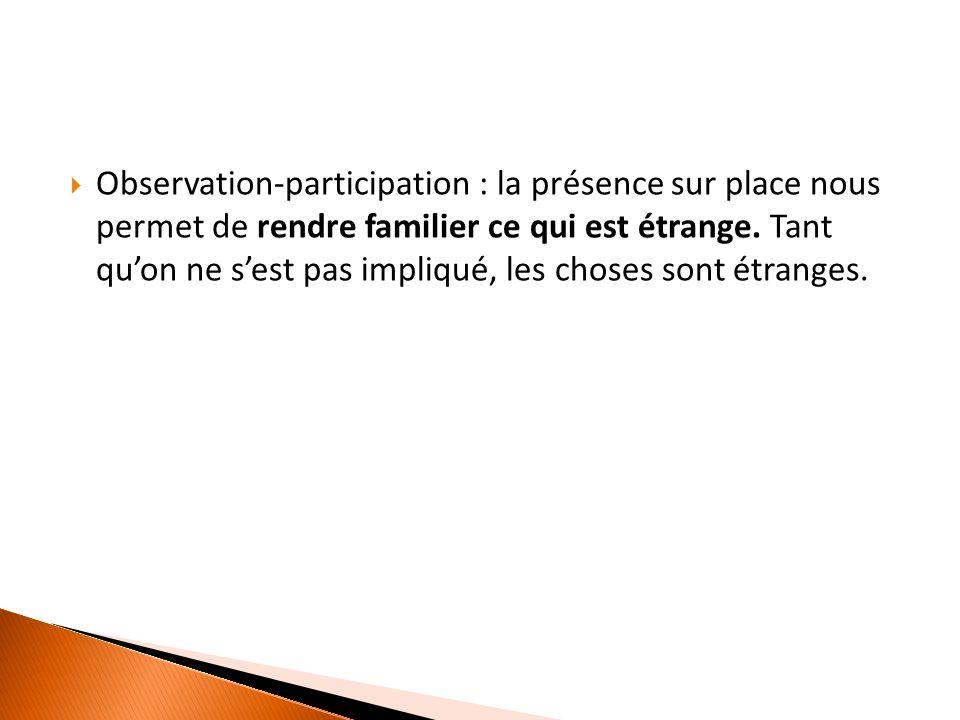  Observation-participation : la présence sur place nous permet de rendre familier ce qui est étrange.