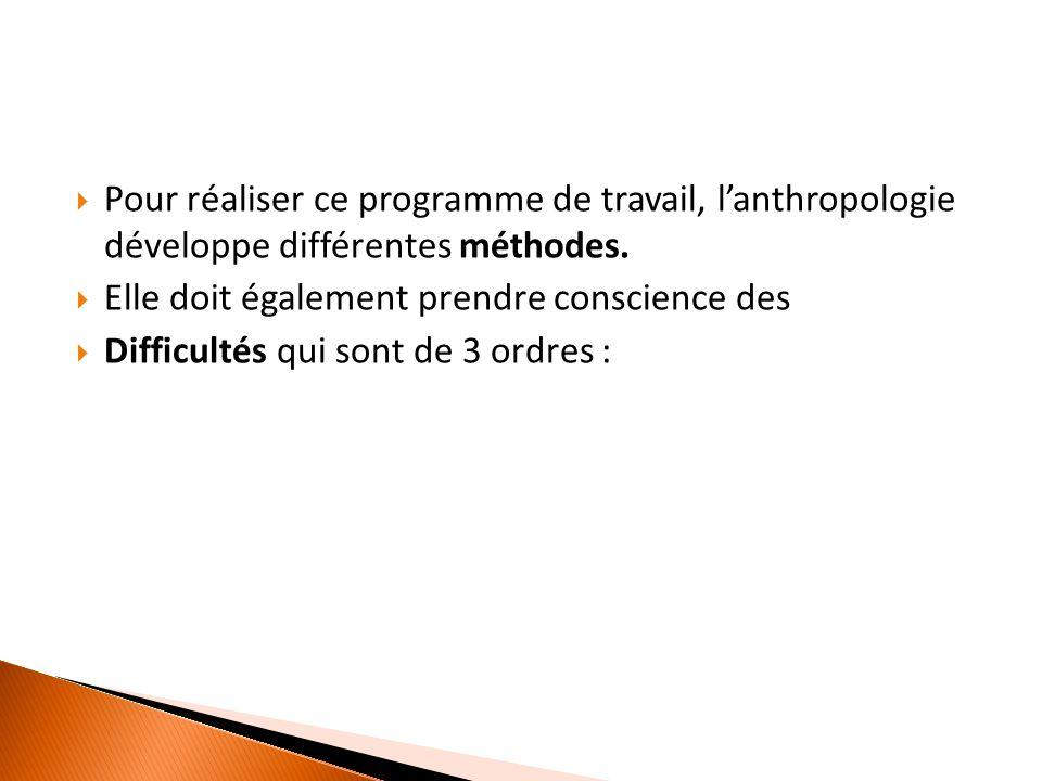  Pour réaliser ce programme de travail, l'anthropologie développe différentes méthodes.