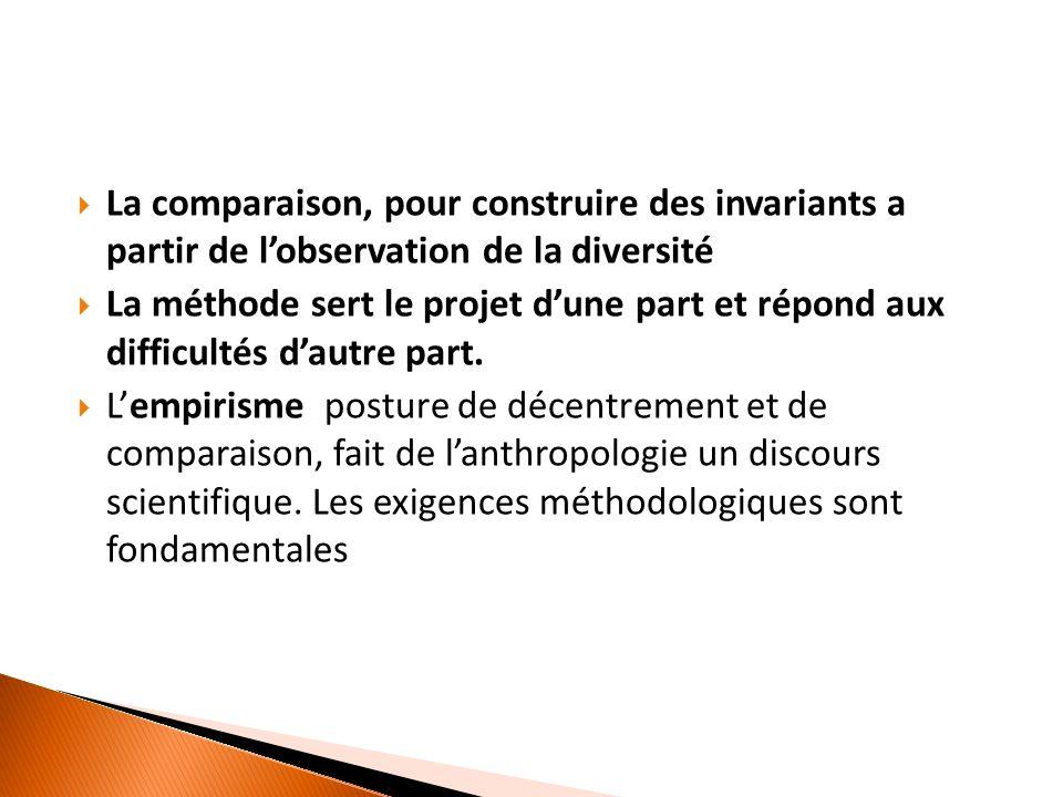  La comparaison, pour construire des invariants a partir de l'observation de la diversité  La méthode sert le projet d'une part et répond aux difficultés d'autre part.