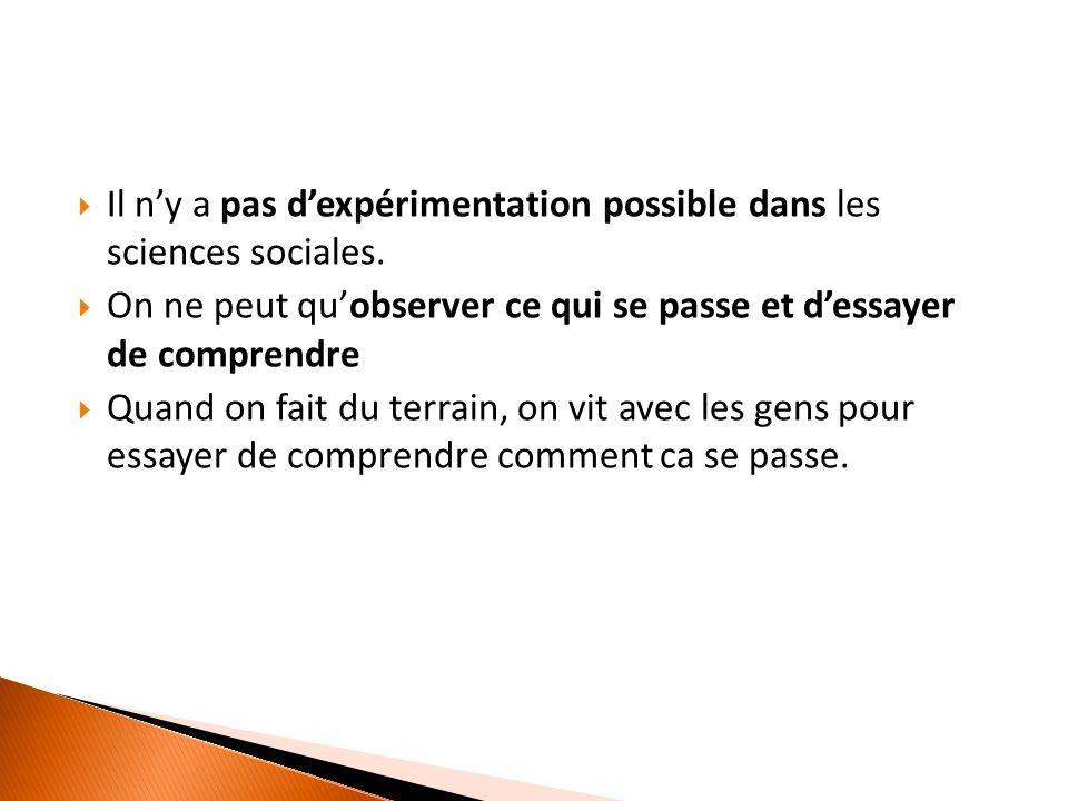  Il n'y a pas d'expérimentation possible dans les sciences sociales.