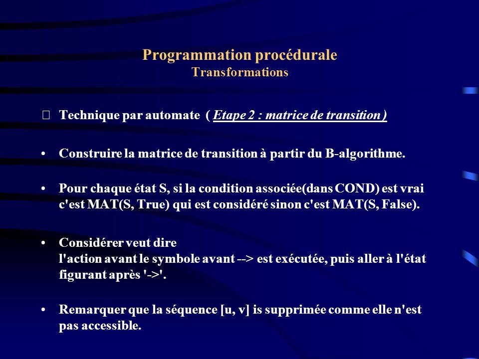 Programmation procédurale Transformations Technique par automate ( Etape 2 : matrice de transition ) Construire la matrice de transition à partir du B-algorithme.