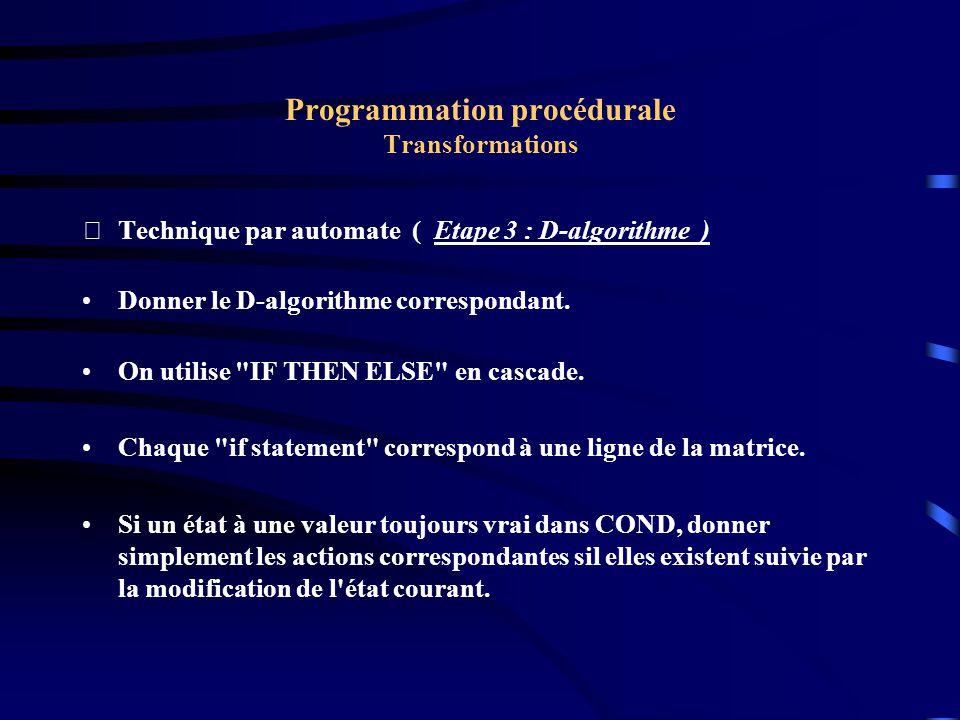 Programmation procédurale Transformations Technique par automate ( Etape 3 : D-algorithme ) Donner le D-algorithme correspondant.