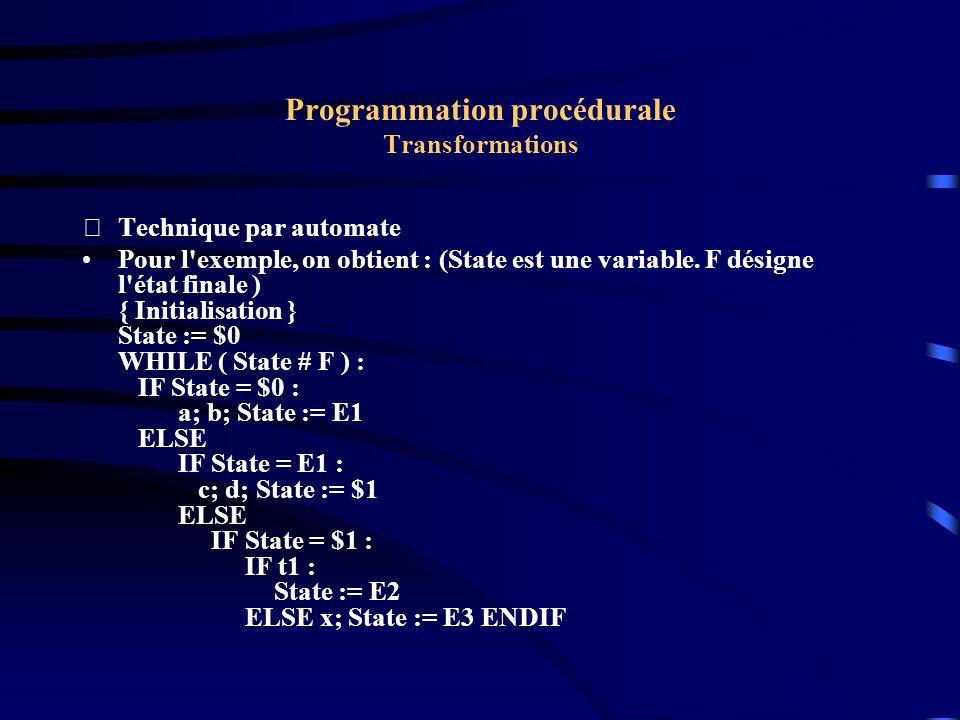 Programmation procédurale Transformations Technique par automate Pour l exemple, on obtient : (State est une variable.