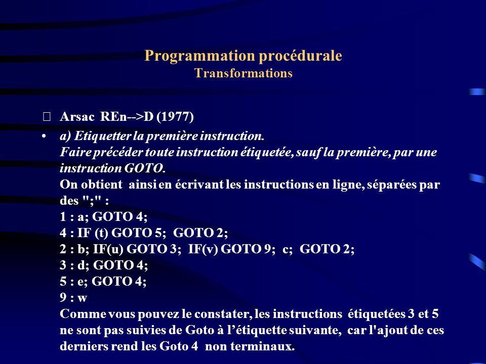 Programmation procédurale Transformations Arsac REn-->D (1977) a) Etiquetter la première instruction.