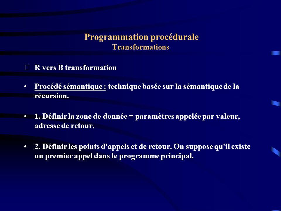 Programmation procédurale Transformations R vers B transformation Procédé sémantique : technique basée sur la sémantique de la récursion.