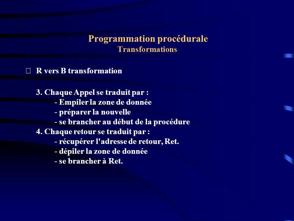 Programmation procédurale Transformations R vers B transformation 3.