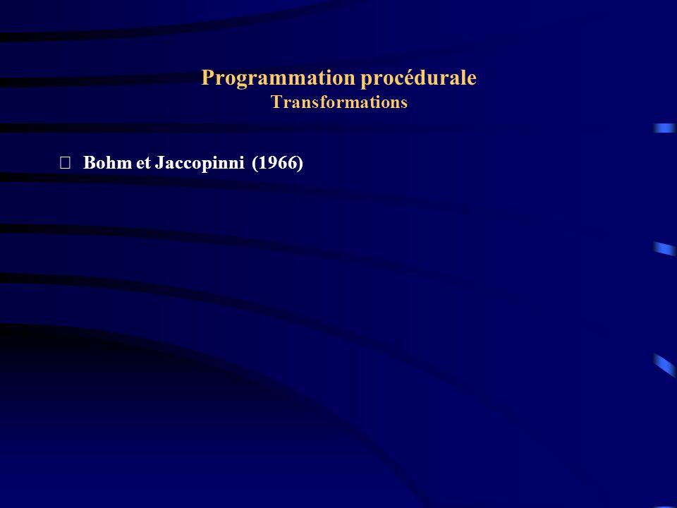 Programmation procédurale Transformations Technique par automate Pour tout B-algorithme, on associe un automate et on donne son algorithme correspondant.