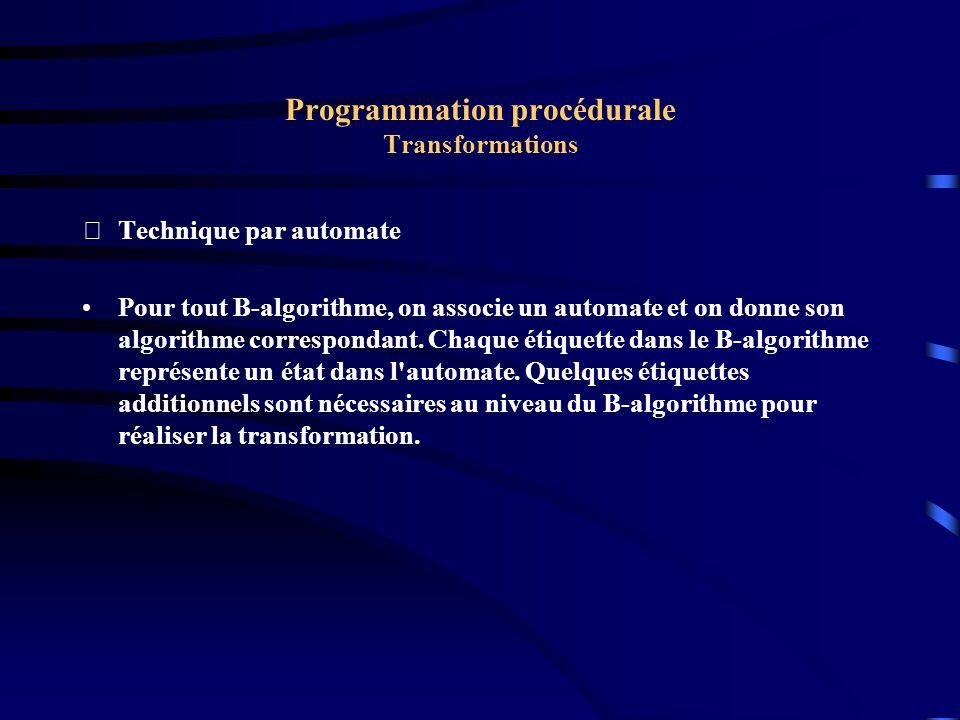 Programmation procédurale Transformations Technique par automate Soit le B-algorithme suivant : a b E1c d IF t1 GOTO E2 x E3IF t2 GOTO E4 z GOTO E1 E2 r s u GOTO E3 u v E4x y z