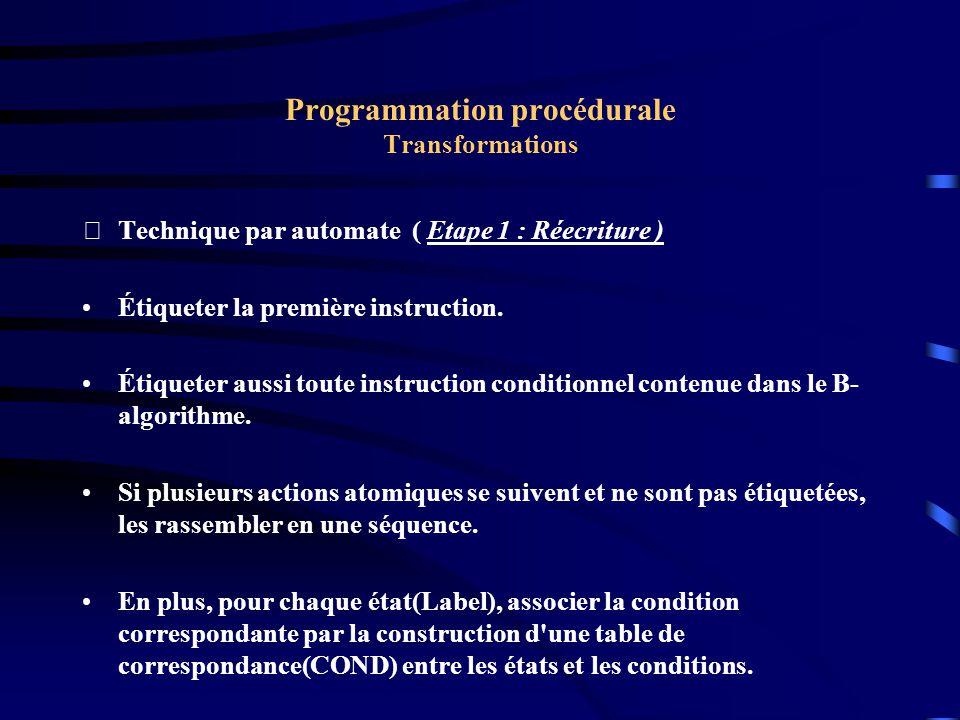 Programmation procédurale Transformations Technique par automate ( Etape 1 : Réecriture ) $0[a, b] E1[c, d] $1IF t1 GOTO E2 [x] E3IF t2 GOTO E4 [z] GOTO E1 E2[r, s, u] GOTO E3 [u, v] E4[x, y, z]