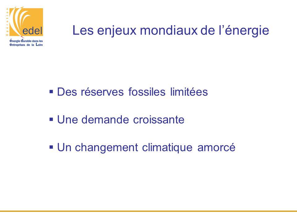 Les enjeux mondiaux de l'énergie  Des réserves fossiles limitées  Une demande croissante  Un changement climatique amorcé