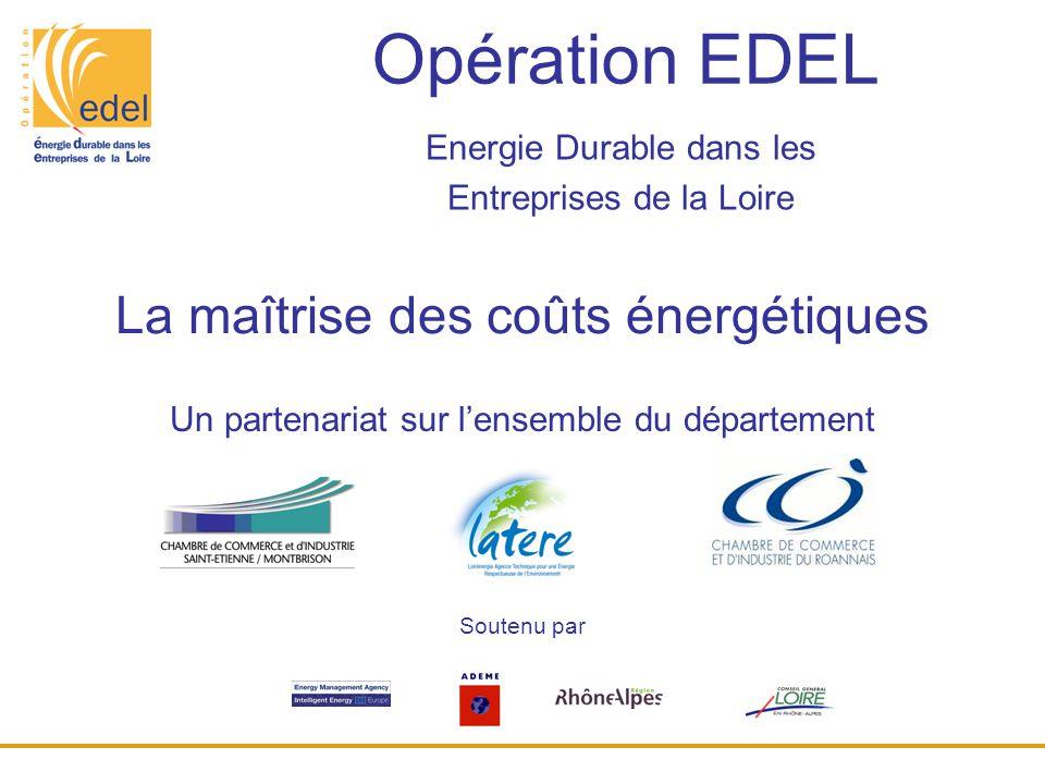 Opération EDEL Energie Durable dans les Entreprises de la Loire Un partenariat sur l'ensemble du département La maîtrise des coûts énergétiques Souten