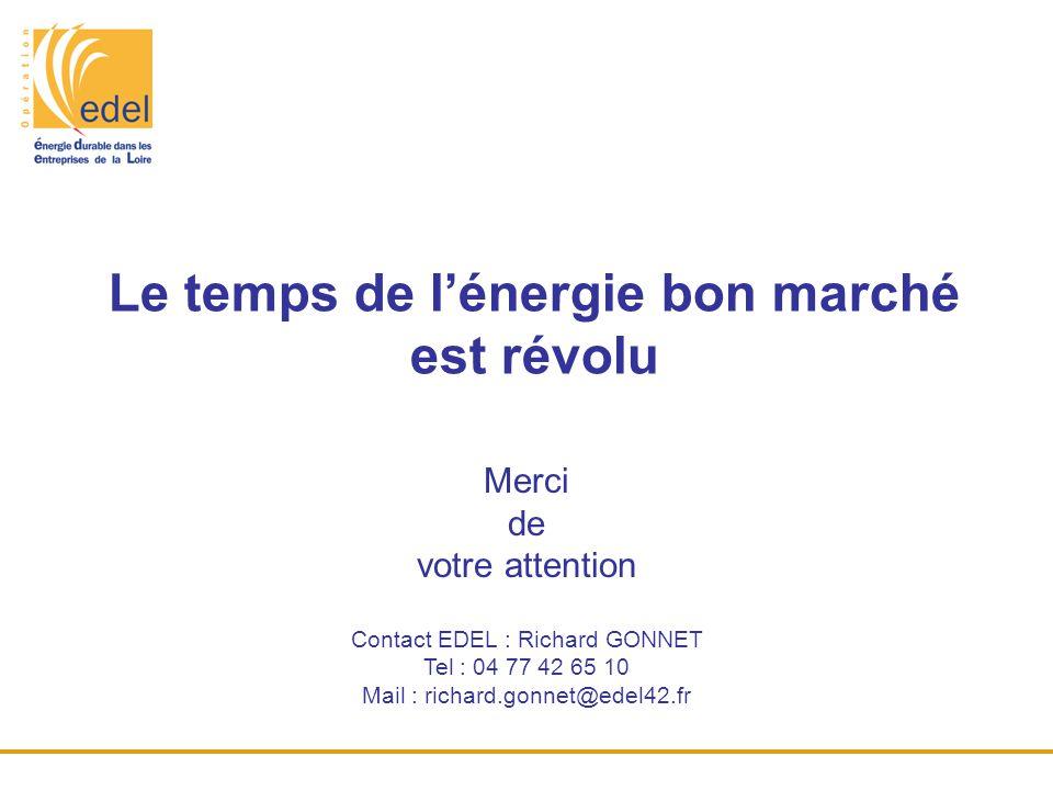 Merci de votre attention Contact EDEL : Richard GONNET Tel : 04 77 42 65 10 Mail : richard.gonnet@edel42.fr Le temps de l'énergie bon marché est révol