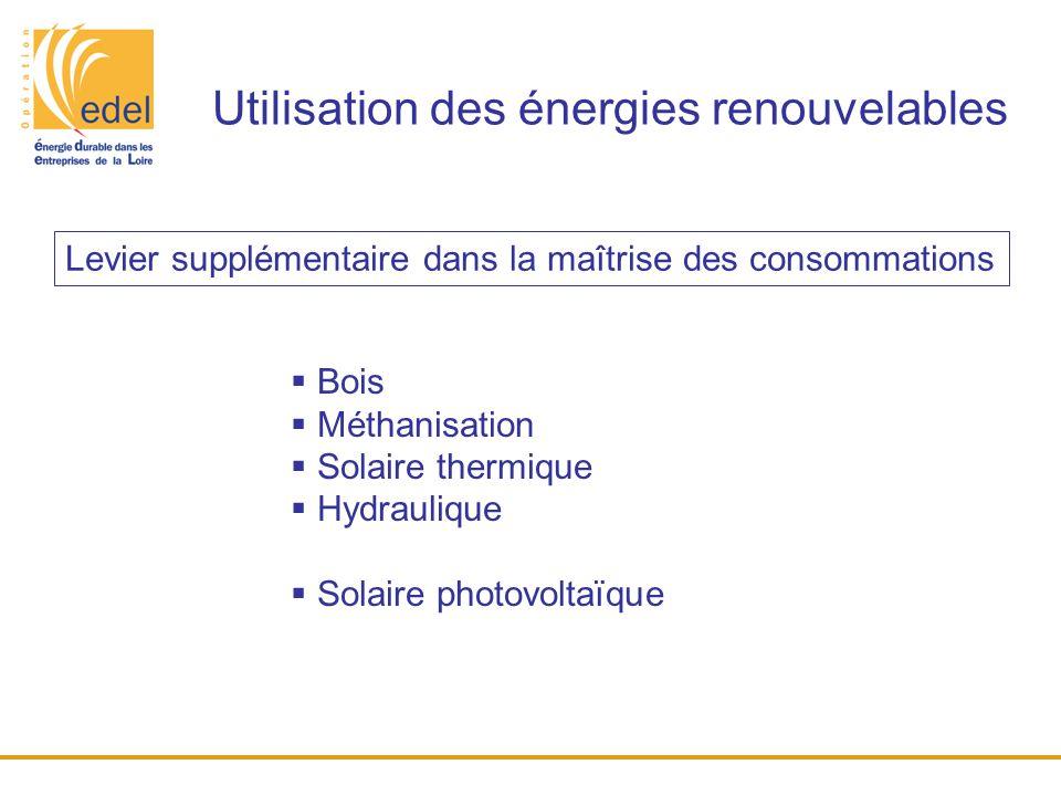 Utilisation des énergies renouvelables  Bois  Méthanisation  Solaire thermique  Hydraulique  Solaire photovoltaïque Levier supplémentaire dans la