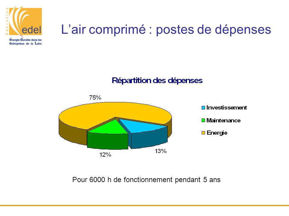 L'air comprimé : postes de dépenses Pour 6000 h de fonctionnement pendant 5 ans