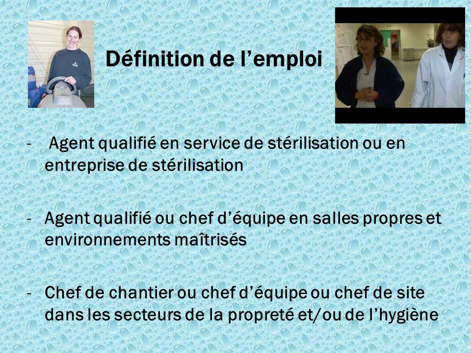 - Agent qualifié en service de stérilisation ou en entreprise de stérilisation -Agent qualifié ou chef d'équipe en salles propres et environnements ma