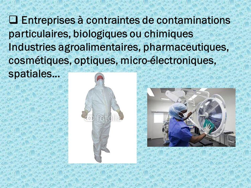  Entreprises à contraintes de contaminations particulaires, biologiques ou chimiques Industries agroalimentaires, pharmaceutiques, cosmétiques, optiq
