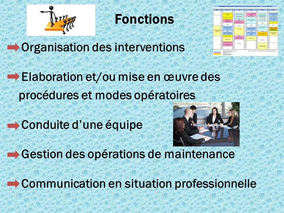 Organisation des interventions Elaboration et/ou mise en œuvre des procédures et modes opératoires Conduite d'une équipe Gestion des opérations de mai