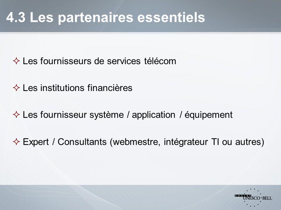 4.3 Les partenaires essentiels  Les fournisseurs de services télécom  Les institutions financières  Les fournisseur système / application / équipement  Expert / Consultants (webmestre, intégrateur TI ou autres)