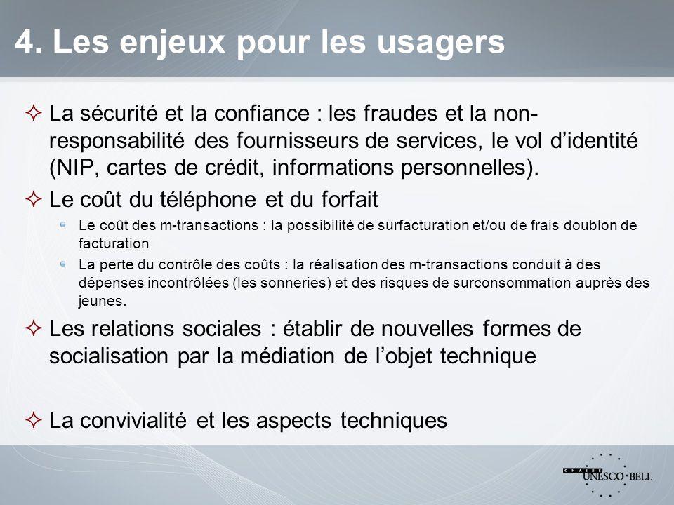 4. Les enjeux pour les usagers  La sécurité et la confiance : les fraudes et la non- responsabilité des fournisseurs de services, le vol d'identité (