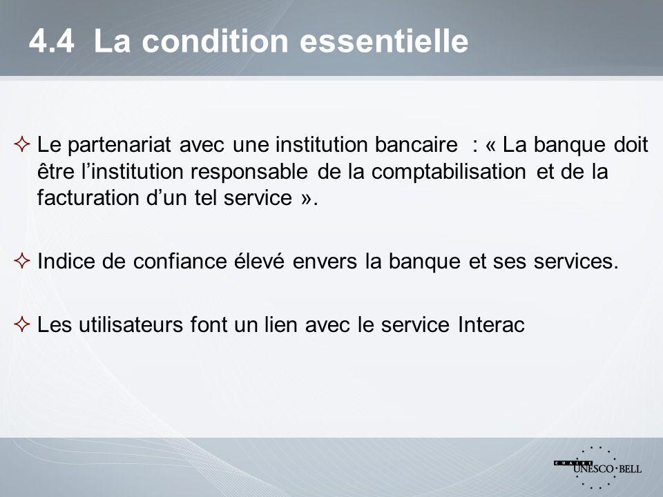 4.4 La condition essentielle  Le partenariat avec une institution bancaire : « La banque doit être l'institution responsable de la comptabilisation et de la facturation d'un tel service ».