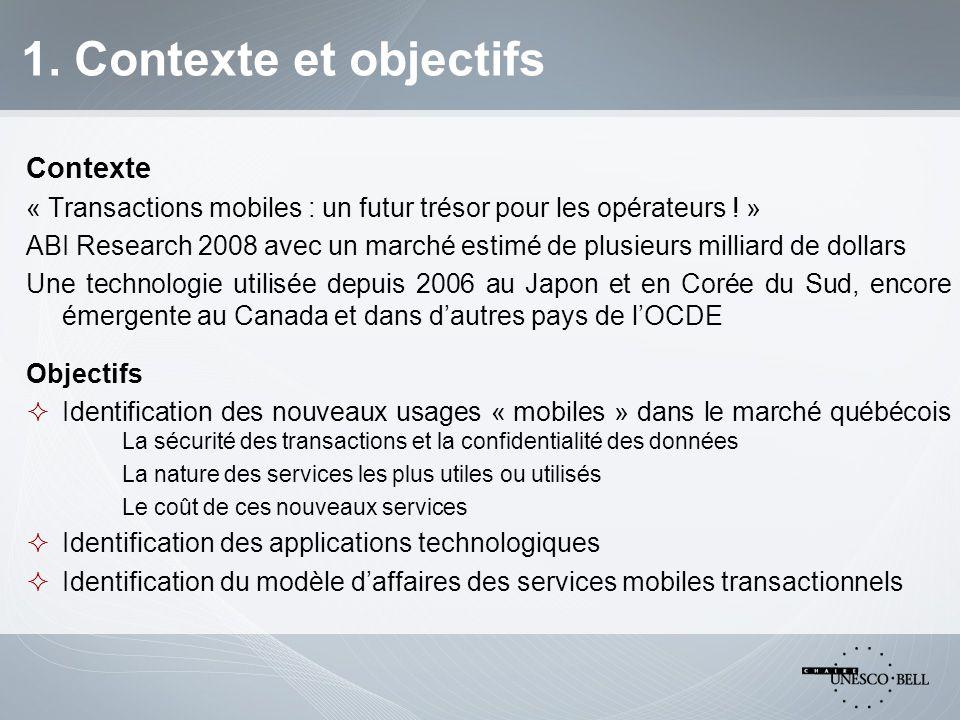 1. Contexte et objectifs Contexte « Transactions mobiles : un futur trésor pour les opérateurs .