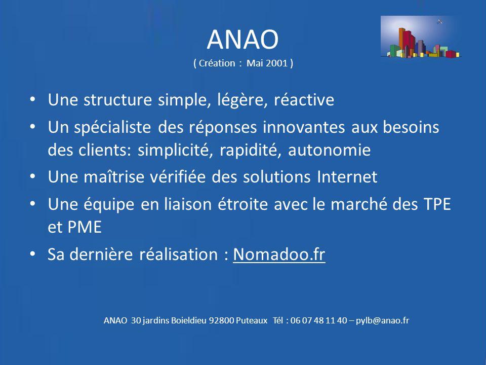 ANAO ( Création : Mai 2001 ) Une structure simple, légère, réactive Un spécialiste des réponses innovantes aux besoins des clients: simplicité, rapidi