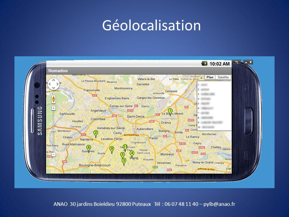 Géolocalisation ANAO 30 jardins Boieldieu 92800 Puteaux Tél : 06 07 48 11 40 – pylb@anao.fr