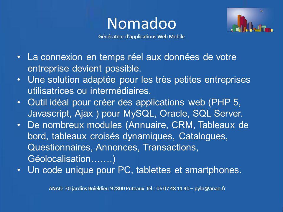 Nomadoo Générateur d'applications Web Mobile La connexion en temps réel aux données de votre entreprise devient possible. Une solution adaptée pour le