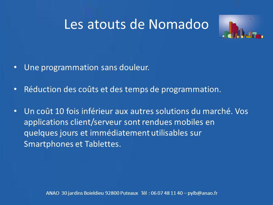 Les atouts de Nomadoo Une programmation sans douleur. Réduction des coûts et des temps de programmation. Un coût 10 fois inférieur aux autres solution