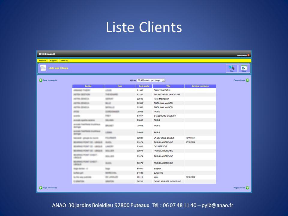 Liste clients ( géolocalisation ) ANAO 30 jardins Boieldieu 92800 Puteaux Tél : 06 07 48 11 40 – pylb@anao.fr