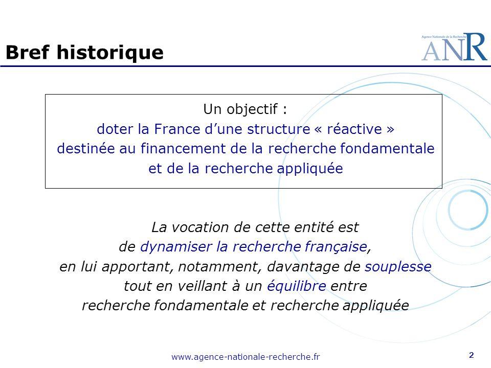 www.agence-nationale-recherche.fr 2 Bref historique Un objectif : doter la France d'une structure « réactive » destinée au financement de la recherche