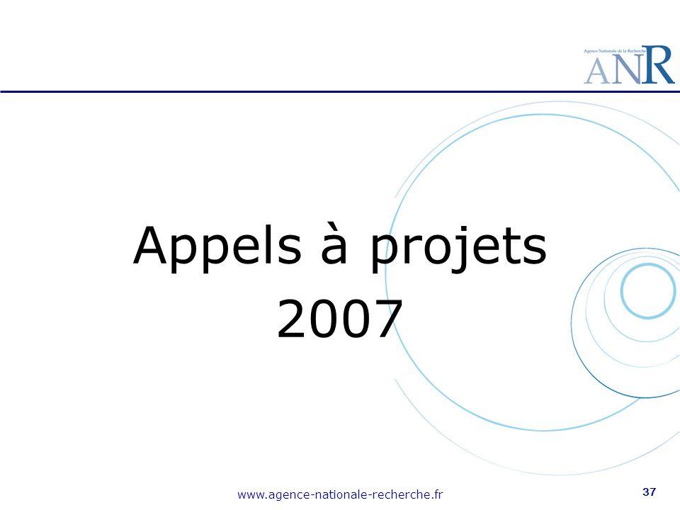 www.agence-nationale-recherche.fr 37 Appels à projets 2007