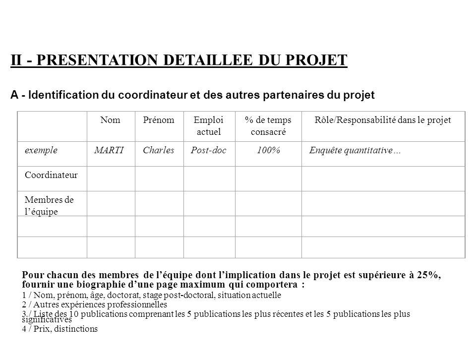 II - PRESENTATION DETAILLEE DU PROJET A - Identification du coordinateur et des autres partenaires du projet NomPrénomEmploi actuel % de temps consacr