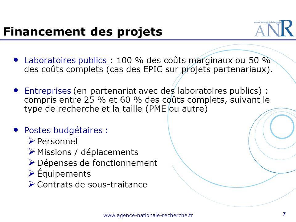 www.agence-nationale-recherche.fr 7 Financement des projets Laboratoires publics : 100 % des coûts marginaux ou 50 % des coûts complets (cas des EPIC
