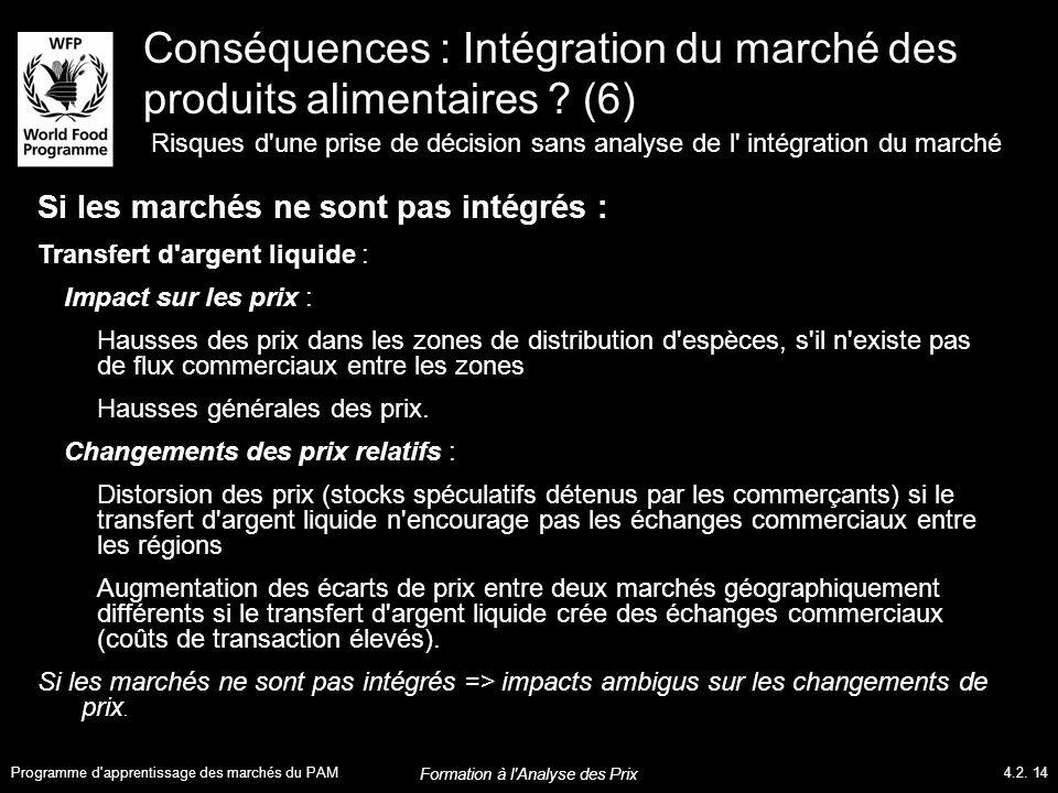 Conséquences : Intégration du marché des produits alimentaires .