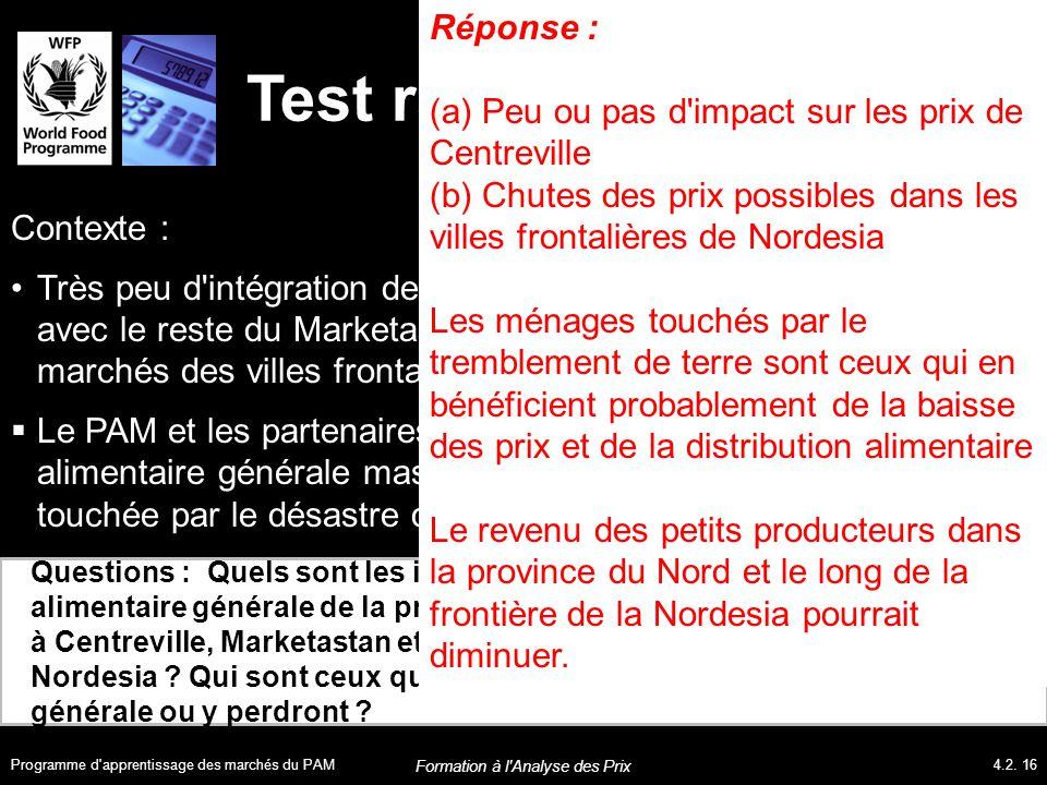 Test rapide Questions : Quels sont les impacts probables d une distribution alimentaire générale de la province du Nord sur les prix alimentaires (a) à Centreville, Marketastan et (b) dans les villes frontalières de Nordesia .
