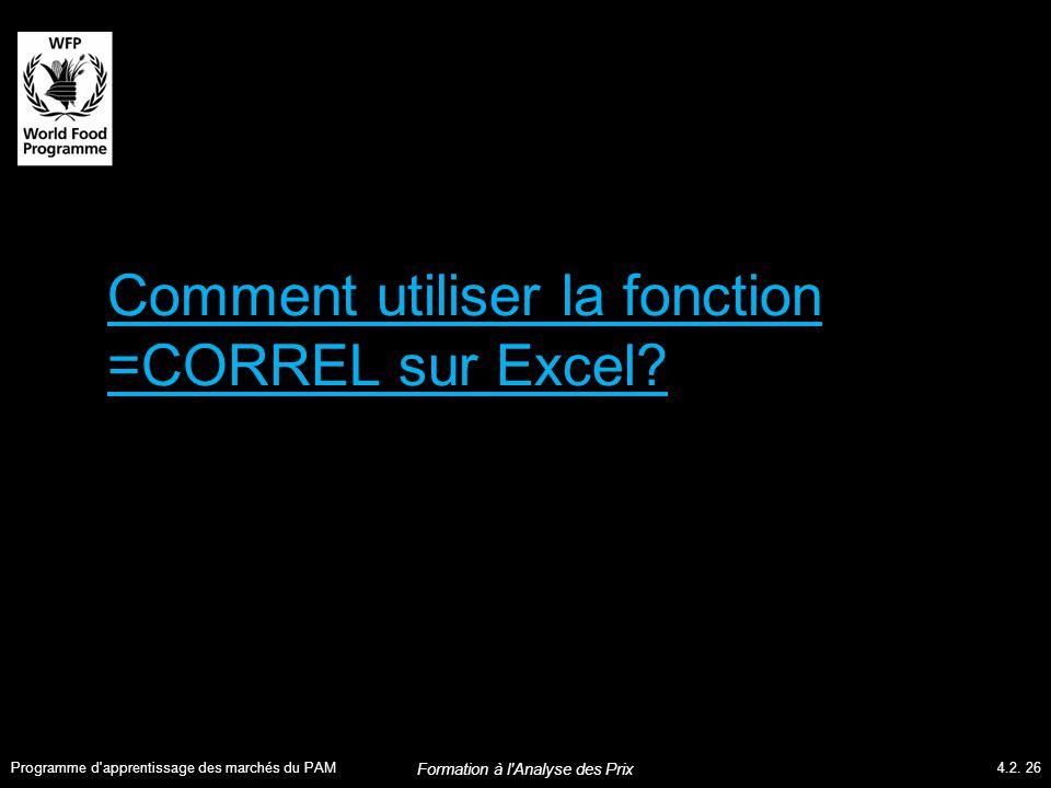 Comment utiliser la fonction =CORREL sur Excel. Programme d apprentissage des marchés du PAM4.2.