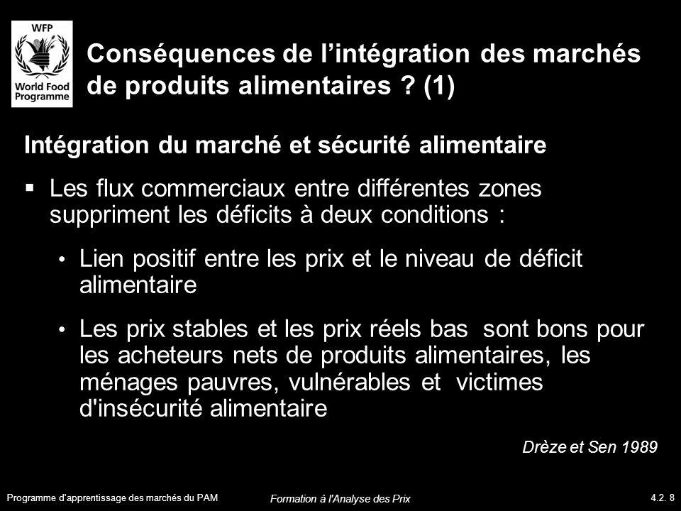 Conséquences de l'intégration des marchés de produits alimentaires .