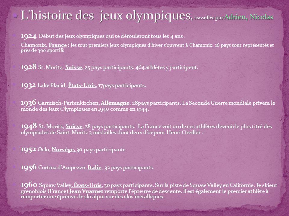 L histoire des jeux olympiques, travaillée par Adrien, Nicolas L histoire des jeux olympiques, travaillée par Adrien, Nicolas 1924 Début des jeux olympiques qui se dérouleront tous les 4 ans.