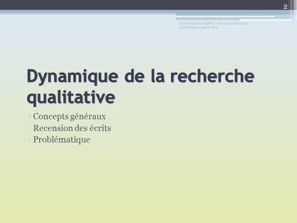 Concepts généraux Recension des écrits Problématique Michèle-Isis Brouillet © | Document de travail Collaboration Amélie Guay 2