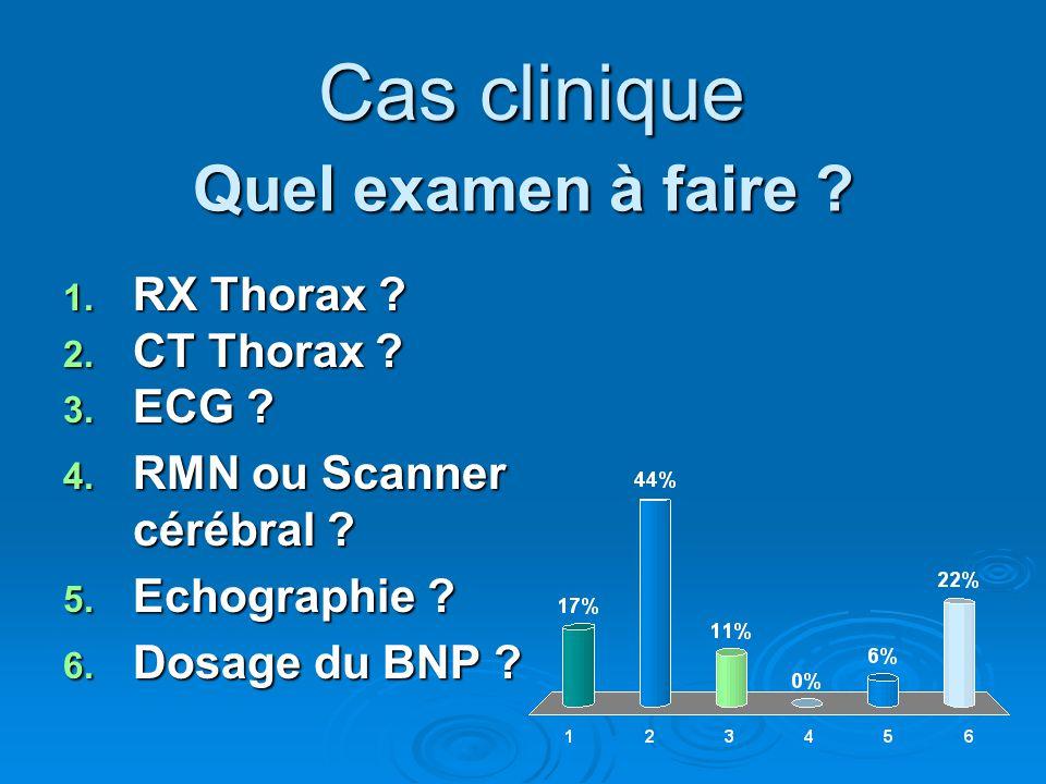Quel examen à faire ? 1. RX Thorax ? 2. CT Thorax ? 3. ECG ? 4. RMN ou Scanner cérébral ? 5. Echographie ? 6. Dosage du BNP ? Cas clinique