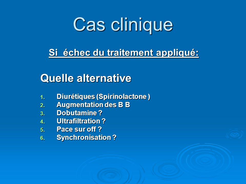 Cas clinique Si échec du traitement appliqué: Quelle alternative 1. Diurétiques (Spirinolactone ) 2. Augmentation des B B 3. Dobutamine ? 4. Ultrafilt