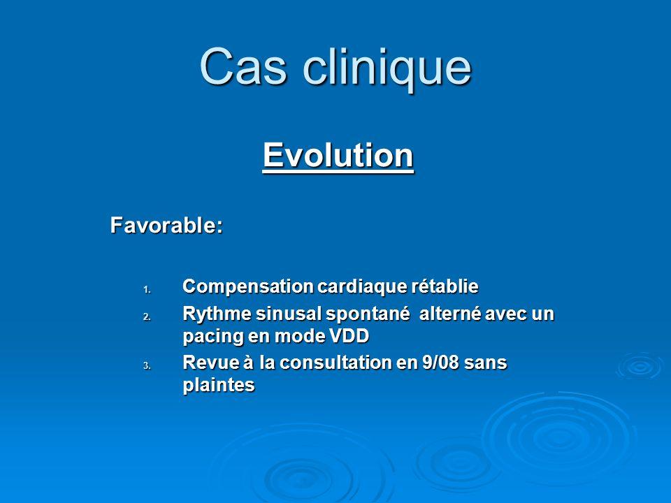 EvolutionFavorable: 1. Compensation cardiaque rétablie 2. Rythme sinusal spontané alterné avec un pacing en mode VDD 3. Revue à la consultation en 9/0
