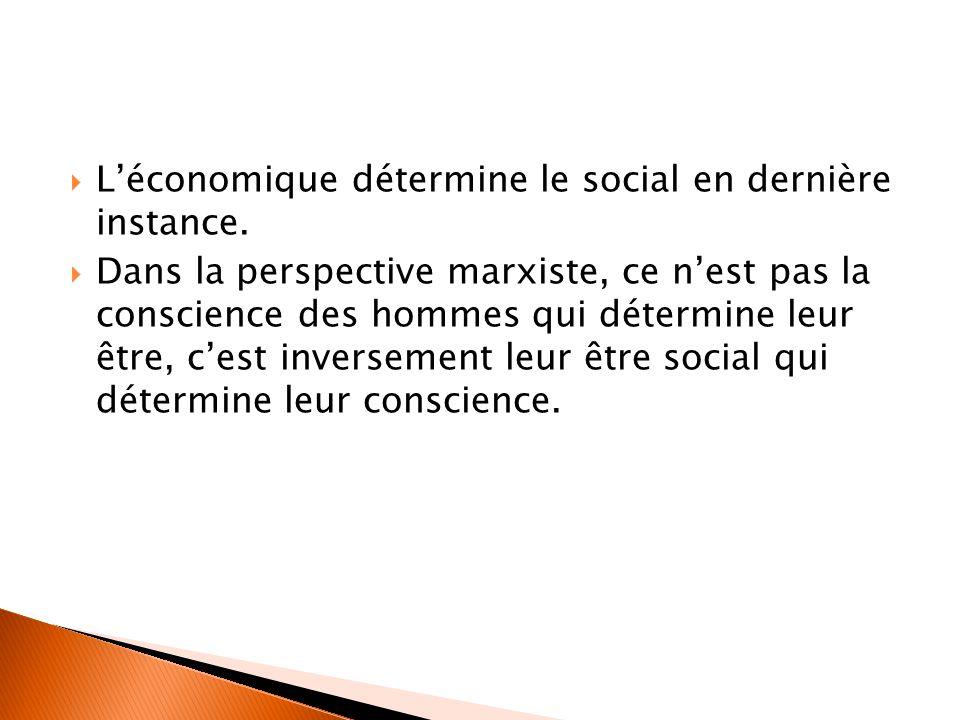  L'économique détermine le social en dernière instance.  Dans la perspective marxiste, ce n'est pas la conscience des hommes qui détermine leur être