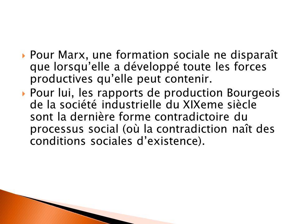  Pour Marx, une formation sociale ne disparaît que lorsqu'elle a développé toute les forces productives qu'elle peut contenir.  Pour lui, les rappor